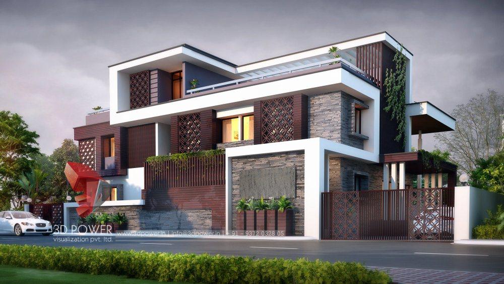 Exterior: Bunglow Design- 3D Architectural Rendering Services